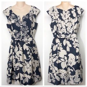 Adrianna Papell Navy and Cream Floral belted Dress